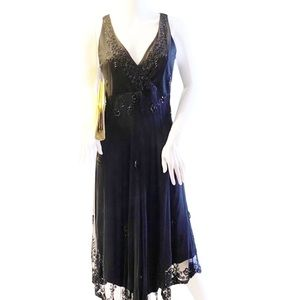 STENAY VINTAGE BEADED AND LACE GOWN SZ 10